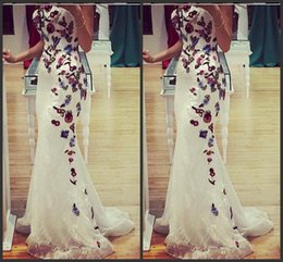 Design Fashion White Lace Strapless Mermaid Evening Dresses With Colorful Embroidery Applique Sexy Party Prom Dress Gowns No Sleeve