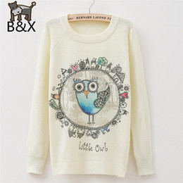 Senhoras casual jumpers On-line-2.015 Mulheres Camisola Morna O Sweaters Neck Capuz Casual Longo SleeveCarton bonito Little Owl Knitwears Simples Style Ladies Jumpers