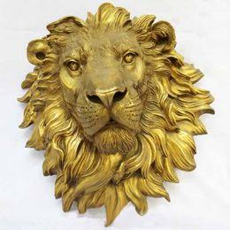 Wholesale West Art pure bronze sculpture carvings fierce beast of prey lion head statue