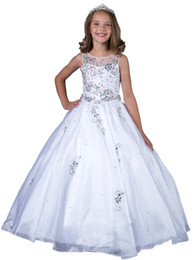 2016 New Little Girls Pageant Dresses Custom Made Beads White Holy Communion Ball Gowns Kids Party Princess Dress