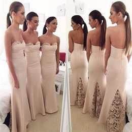 Wholesale Lavender Dresses For Brides Maids - 2016 Champagne Vintage Lace Plus Size Bridesmaids Dresses Sleeveless Sexy African Arabic Mermaid Bride Maid Gowns For Girls Under $80