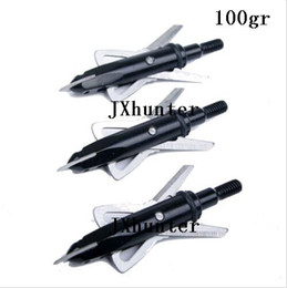 "6pieces lot Free shipping hunting compound bow arrow heads arrow points target points 100 grain 2"" cutting 2 blades black color"