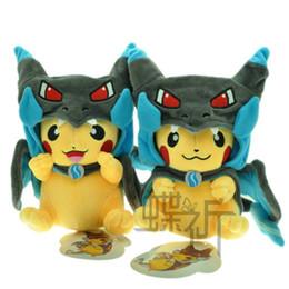 Mega tv en venta-nuevo empuje felpa Mega Pikachu Cosplay X Charizard brinquedo Peluches 9inch muñeca de dibujos animados juguetes de peluche