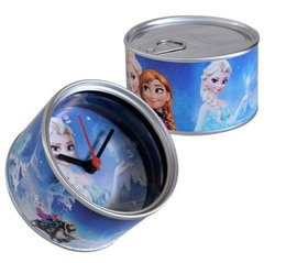Wholesale 2015 NEW Elsa princess Anna princess Canned creative clock Table clock Refrigerator clock stick
