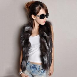 Wholesale-Black Fox Fur Vest for women Real Fox Fur coat women Noble fashion luxury genuine Fur coat women free shopping QS-72