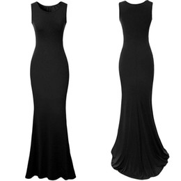 Wholesale 2016 New Fashion Spandex Women dresses scoop long floor length mermaid evening party gowns Maxi black sexy formal Summer dresses