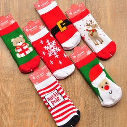 Wholesale Christmas Socks For Men - New 2016 Boys Girls Christmas Socks with print deer snowflake Santa man Childrens Autumn Winter Socks For 1-10T 6styles E255