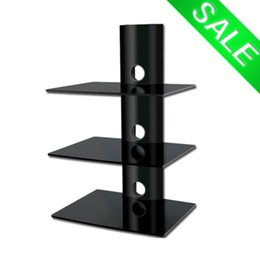 Wholesale Modern Black TV Stand Component Tower Tempered Glass Shelves