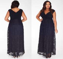 Top Fashion Plus Size Black Lace Prom Dress A Line Ankle Length V-Neck Hollow Capped Evening Gowns Prom Dresses