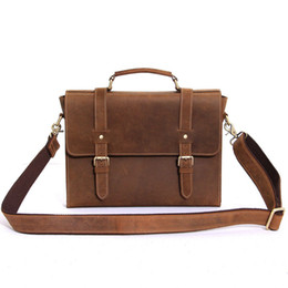 Wholesale-Brand Retro Crazy Horse Genuine Leather Men's Classic Messenger Shoulder Bag Casual Travel Laptop Notebook Business Bags