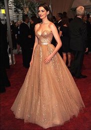 Wholesale Anne Hathaway Prom Dresses Gorgeous Plus Size Formal Evening Gowns with Sequins Sweetheart Zipper Back Pageant Dresses