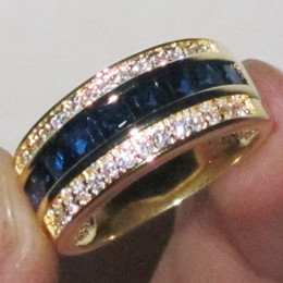 Wholesale Deluxe Elvis Aloha Concert Ring KT Yellow Gold Filled Blue Sapphire Gem CZ Band Ring for Men gift