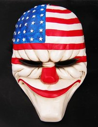 Halloween Masquerade Cosplay New PAYDAY 2 dallas US National flag mask Heist joker clown costume Adult Party Head Mask