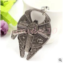 Wholesale 300pcs CCA2998 High Quality Star Wars Keychains Fashion Star Wars Millennium Falcon Metal Alloy Bottle Opener Movie Keyring Jewelry Gifts