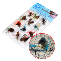 New Fly Fishing Lure Flies Saltwater 12pcs set Insert Bass Trout Dry Fishing Lure Baits Free Shipping