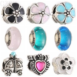 MIX03 Silver and Crystal Loose Beads Charms Fit Charm Heart European DIY Luxurious Women Jewelry Bracelet&Necklace
