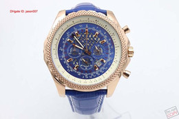 Free Shipping Blue Dial Silver Blue Leather Belt Mens Golden Stainless Pointer Watch Fashion Man Wristwatches