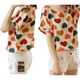 Free Shipping!New 2015 Women Summer Loose Plus Size Chiffon Shirt Pullover Fashion Print Heart T-Shirts Tops Blouse FYE2736