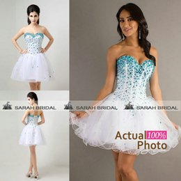 Wholesale Little Short White Homecoming Graduation Dresses For Sweet Young Girls Hot Sale In Stock Cheap Crystals Beaded Prom Party Ball Gowns