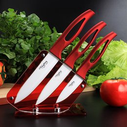 Wholesale TINGTING ceramic knife set quot quot quot with acrylic knife holder stand kitchen knives cooking tools beauty gift red handle