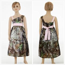 Realtree Camouflage Flower Girls Dresses 2015 Wedding Party Camo Flower Girl Dress Custom Made Communion Toddler Flower Girl Dresses