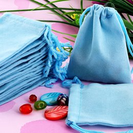 100Pcs 7x9cm Blue Velvet Drawstring Pouch Bag Jewelry Bag,New Year Valentine's Day Brithday Christmas Wedding Gift Bag Jewelry Package Hot