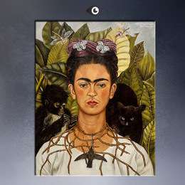 Wholesale Frida Kahlo Original Self Portrait with Thorn Necklace and Hummingbird c GICLEE poster print on canvas
