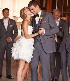 Wedding Prom Groom Tuxedos Mens Suits Custom Made Grey Slim Fit Back Vent Bridegroom Best Men Suit (Jacket+Pants+Tie+Vest)q111