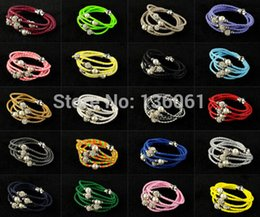 Fashion Jewelry Vintage Silvers Magnetic Rhinestone Buckle Pearl Weave Leather Wrap Wristband Bracelets&Bangles For Women 10PCS Q301
