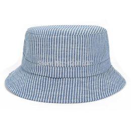 Wholesale-Top Quality Cotton Denim Bucket Hat Fishing Cap Outdoor Travel Hat for Adult New Design Stripes Bucket Caps Wholesale Goldtop