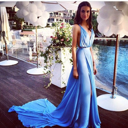 Sexy Blue Chiffon 2016 Summer Evening Dresses With Long Train Deep V Neck Side Slit Open Back Popular Prom Dresses Party Gown