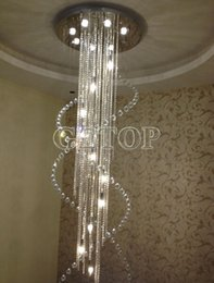 Wholesale Modern Duplex Staircase K9 Crystal Chandelier Villa Luxury Hotel Stair Crystal Pendant Lamp LED Spiral Long Droplight Lightings