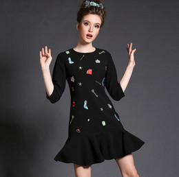 Free shipping! Best Selling 2016 spring models of high-end women casual dress heavy hand-beaded embroidery dress plus size 5XL
