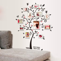 Wholesale Chic Black Family Photo Frame Tree Butterfly Flower Heart Mural Wall Sticker Home Decor Room Decals dandys
