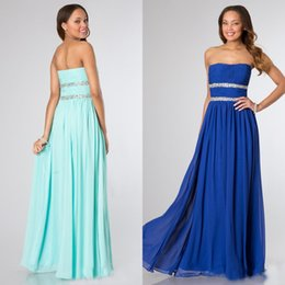 Wholesale Soft Chiffon Sheath - Stunning Custom Made Blue Dress Long Formal Prom Party Dresses Strapless Soft Sweetheart Crystals Wedding Party Gowns