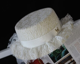 Wholesale-New Maison Michel Straw Hat Woman Exclusive Custom Lace Layer Flat Top Fedora Hat Lady White Straw Fedora Hat Summer Straw Hats