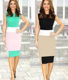 Hot Sale! Color Blocking Dress For Business Career Women Work Mini Bodycon Stretch Zipper Dress Party Pencil Dress LQ4668