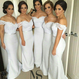 Vintage Off the Shoulder Bridesmaid Dresses 2016 Middle East Style Covered Button Floor Length Lace Mermaid Bridesmaid Gowns