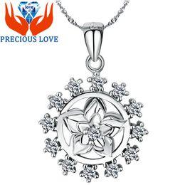 Wholesale S925 Silver Pendant Pendant Necklace Gardenia zircon silver jewelry micro inlays Amazon foreign trade D