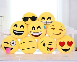 20 Styles Diameter 32cm Cushion Cute Lovely Emoji Smiley Pillows Cartoon Cushion Pillows Yellow Round Pillow Stuffed Plush