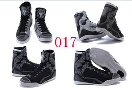 Wholesale Leather Shoes Nude Colour - 18 Colours (With Box) Wholesale kobe KB 9 IX Elite High BHM Blackout Black Mamba Men Basketball Sport Sneakers Trainers Shoes