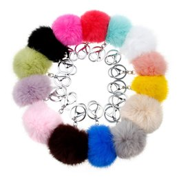 Wholesale 14Colors CM Genuine Rabbit Fur Ball Car Keychain New Year Gift Silver Plated Key Chain Women Gifts Couples Keychain Men