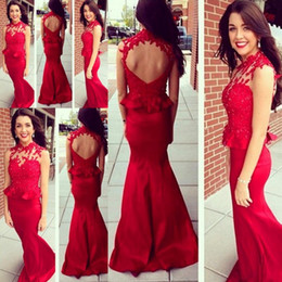 Red Sheer Appliqued Evening Dresses 2015 High Neck Backless Mermaid Taffeta Party Prom Gowns Custom made