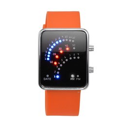 Wholesale-Rectangle Digital LED Watches Silicon Electronic Wristwatches for Women with LED Light High Quality OrangeRed 235x24mm;