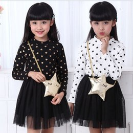2018 Children Girls Dress Korean Pure Cotton Star Bag Gauze Fashion Princess Dresses Kids White Black 100-140 3-8Age Child Clothing TR116
