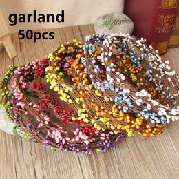 Wholesale-Artificial Flower Head Ring DIY Wedding Garland Pip Berry Flower Stamen Wreath Simulation Flower Bead Material for Wedding Deco