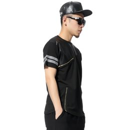 Wholesale Heybig High Street Men T Shirts Patchwork Black Faux Leather and Zippers Tees Summer Short Sleeve Bboy Skateboard T Shirts Men