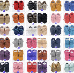 Wholesale free fedex ship cow leather baby moccasins tassels boot booties moccs infant girl boy lace leather shoes prewalker booties toddlers shoes