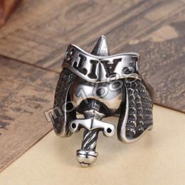 Mens 361L Stainless Steel Silver Faith Engraved Biker Band Sword Dagger Brave Ring Size 7-13