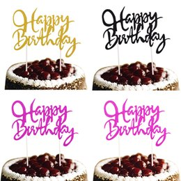 10pcs lot Happy Birthday Cake Topper Customised Glitter Cake Flags Birthday Wedding Party Cake Baking Decor Babyshower Flag